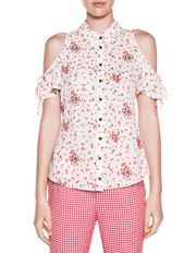 Cue - Blossom Georgette Tie Sleeve Shirt