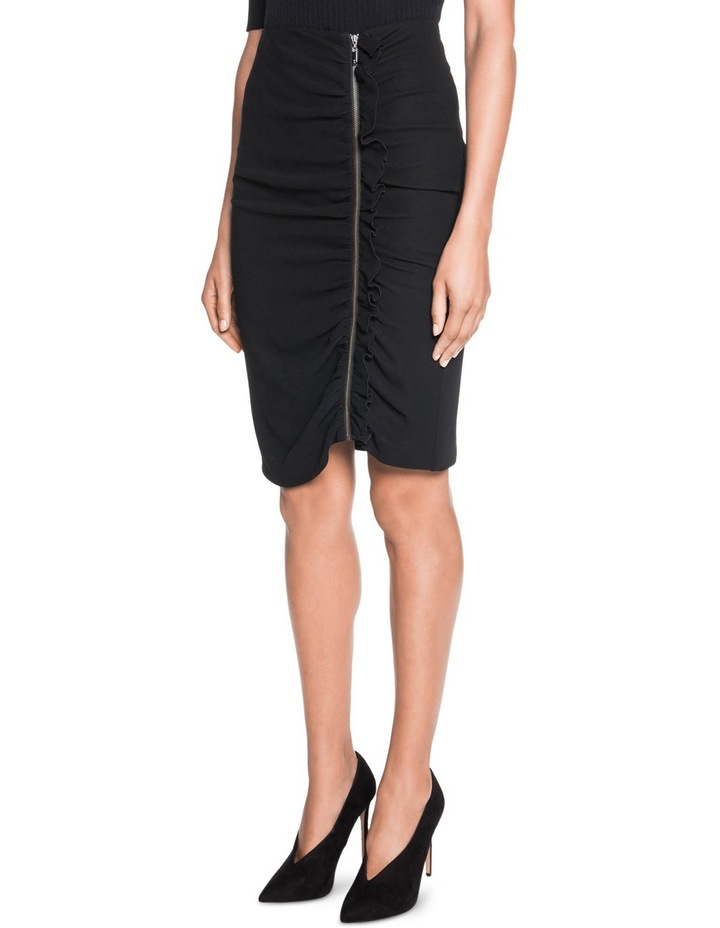 Crepe Gathered Zip Front Skirt image 1