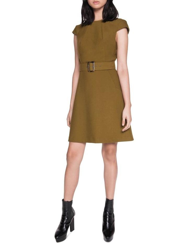 Khaki Belted Shift Dress image 1
