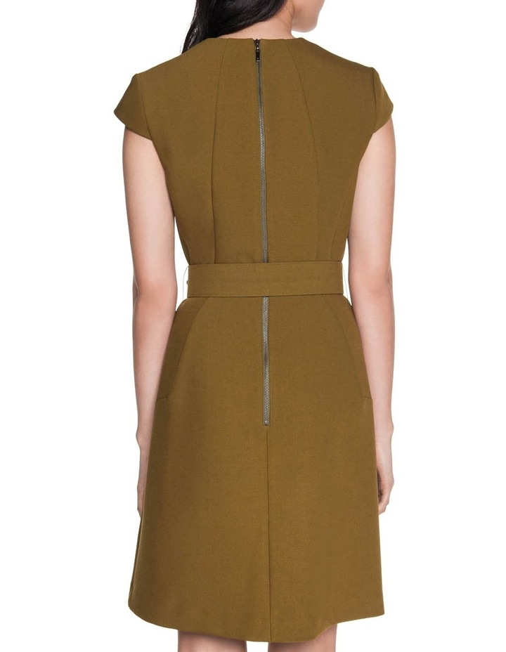 Khaki Belted Shift Dress image 3