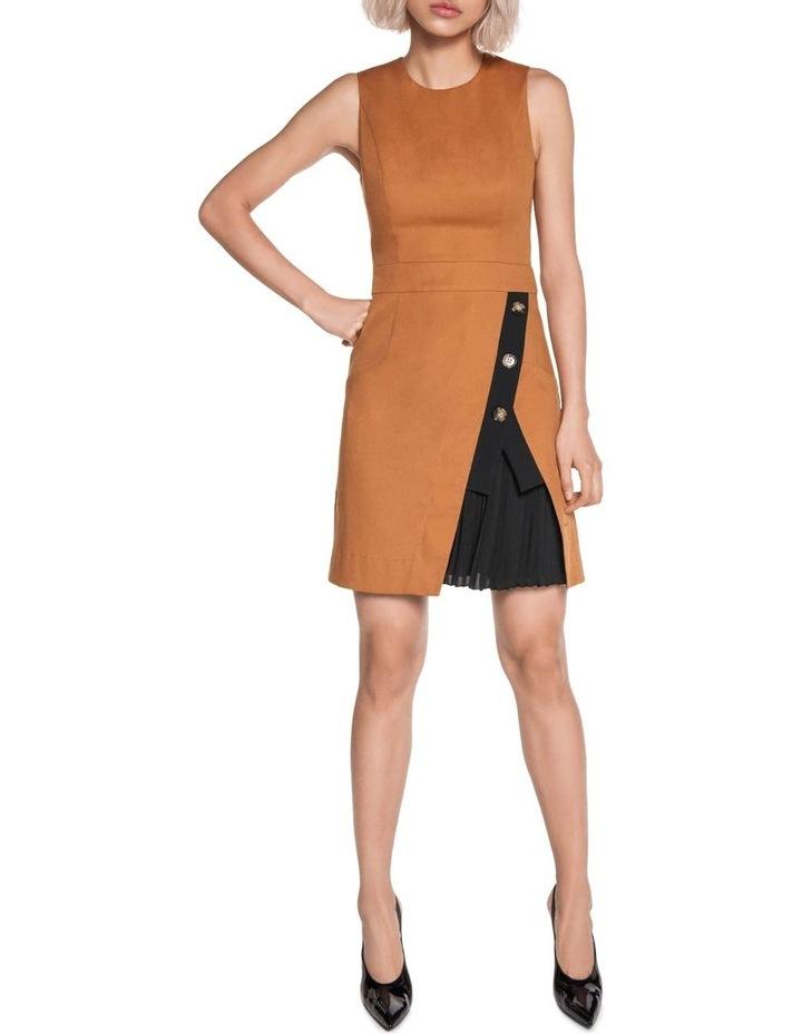 Asymmetric Contrast Pleated Dress image 1