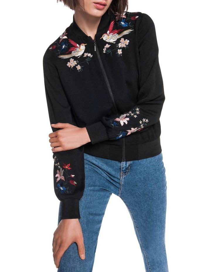 Crepe Embroidered Bomber image 2