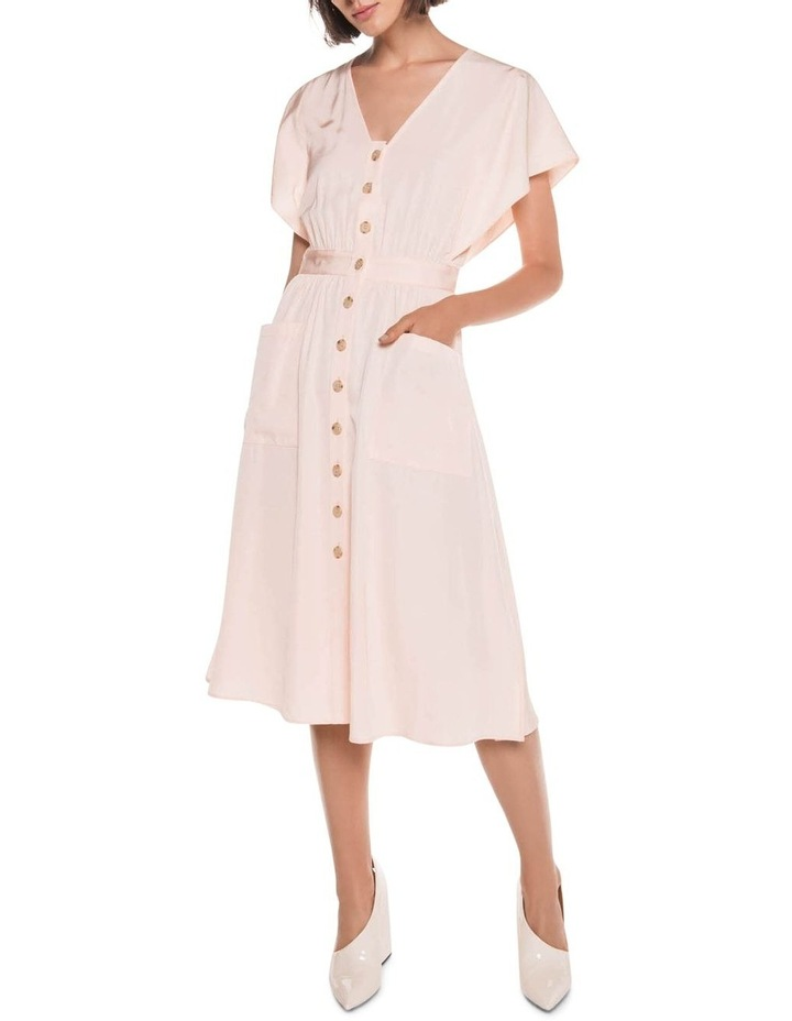 Peach Button Front Midi Dress image 1