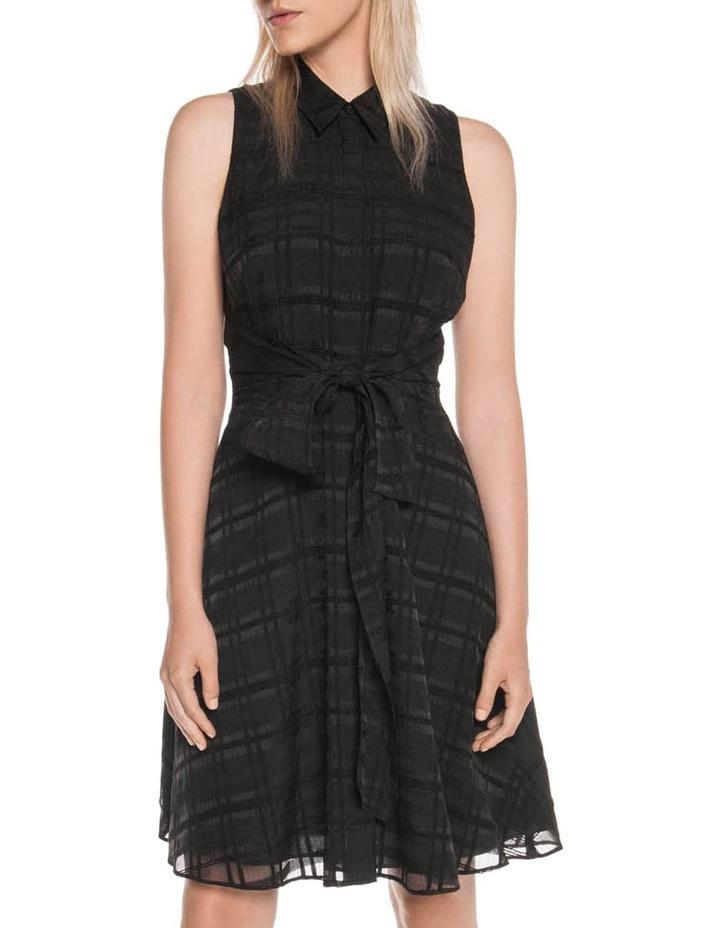 Sheer Black Check Tie Dress image 1