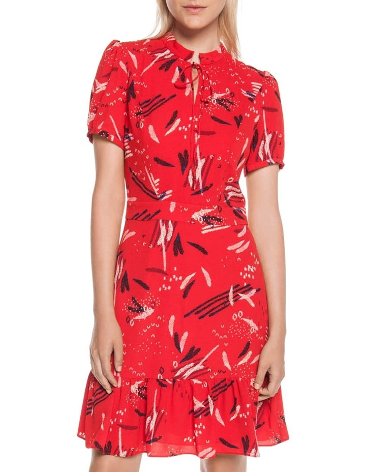 Abstract Brushstroke Ruffle Hem Dress image 1