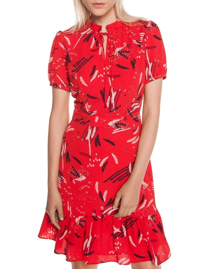 Abstract Brushstroke Ruffle Hem Dress image 2