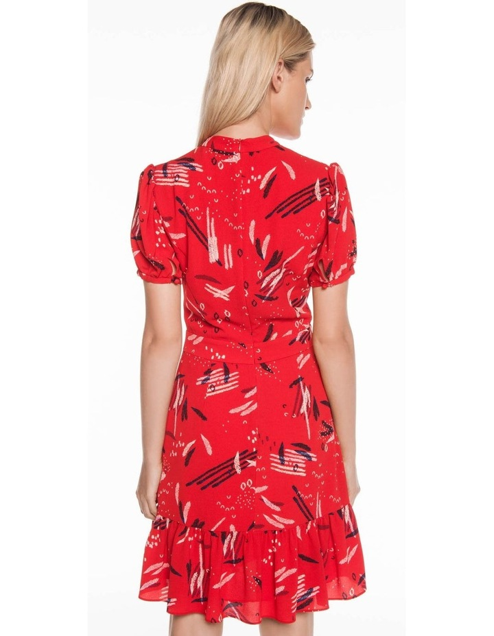 Abstract Brushstroke Ruffle Hem Dress image 3