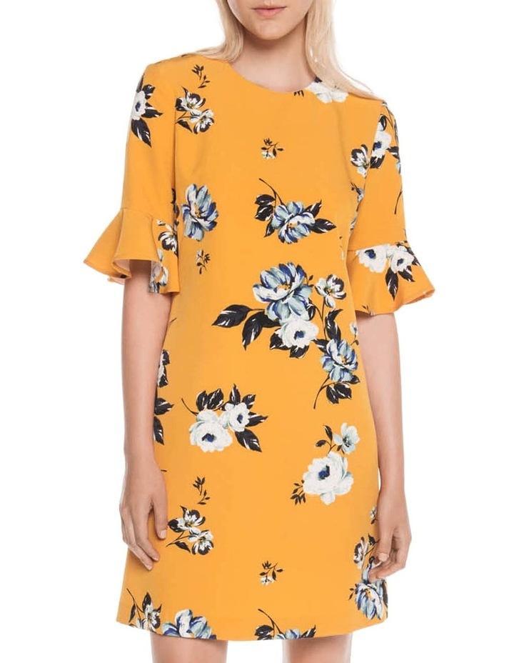 Mustard Rose Fluted Sleeve Dress image 1