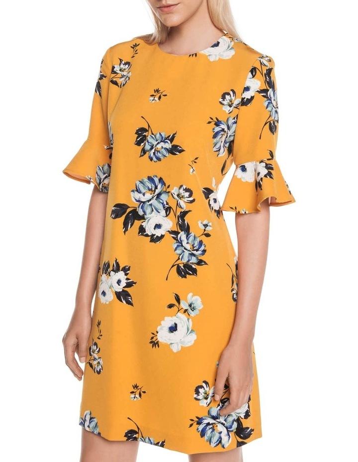 Mustard Rose Fluted Sleeve Dress image 2