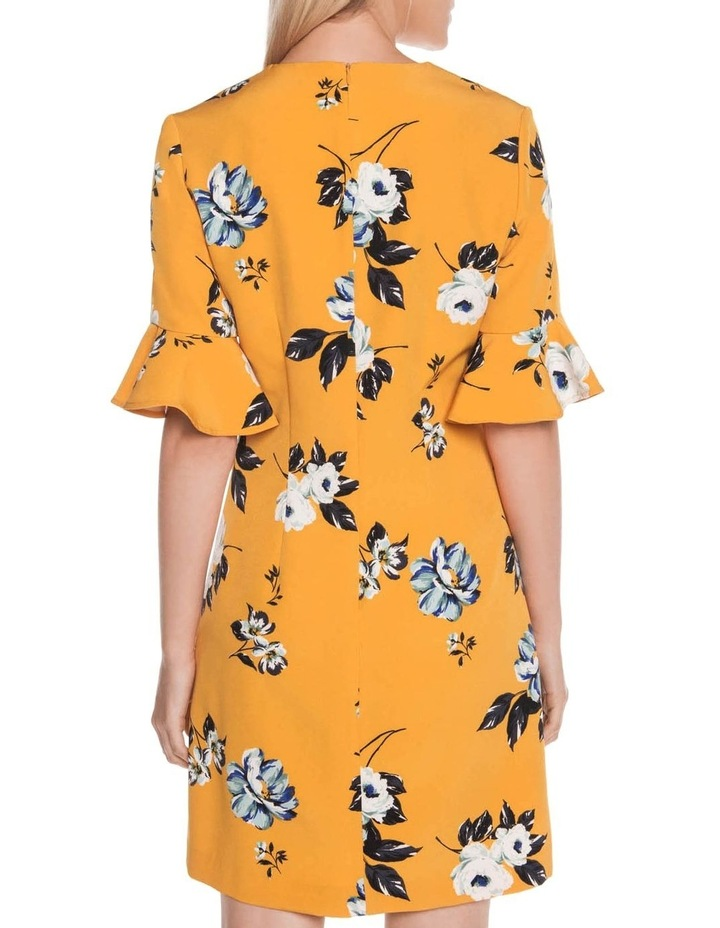Mustard Rose Fluted Sleeve Dress image 3