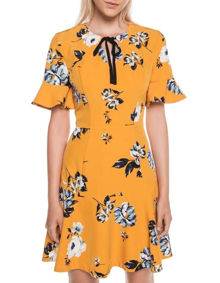 Mustard Rose Tie Neck Dress image 2