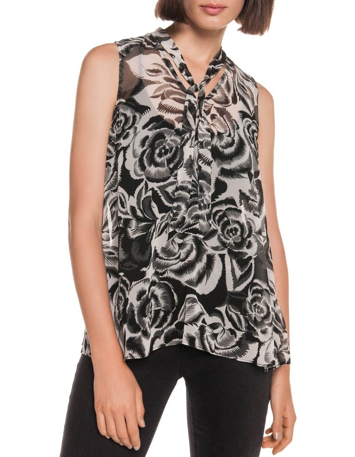 Abstract Floral Tie Neck Top image 2