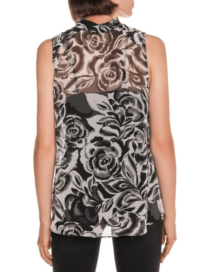 Abstract Floral Tie Neck Top image 3