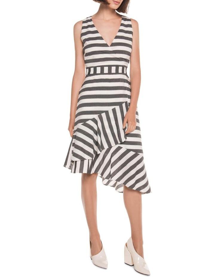 Monochrome Stripe Frill Hem Dress image 1