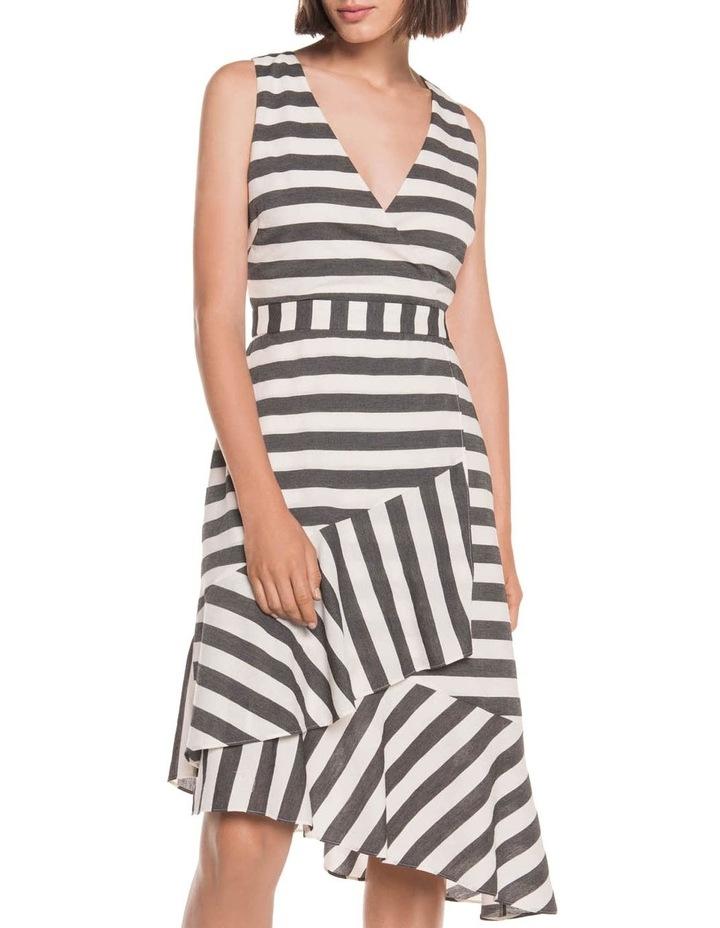 Monochrome Stripe Frill Hem Dress image 2