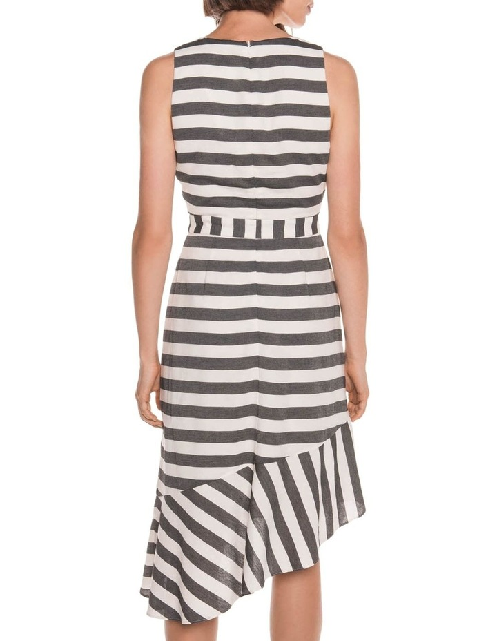 Monochrome Stripe Frill Hem Dress image 3