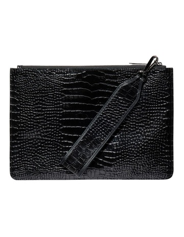 87627bec8d4a Cue Black Croc Envelope Clutch
