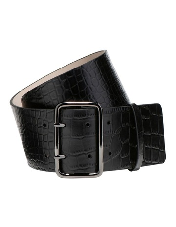 Cue Black Croc Wide Belt c8305e17d0008