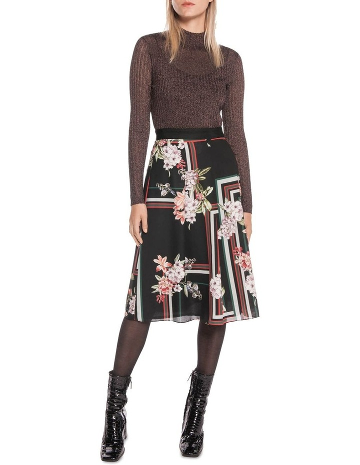 Floral Scarf Pleated Midi Skirt image 1