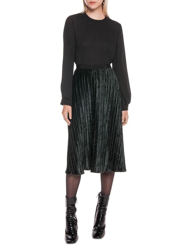 Pleated Velvet Midi Skirt image 1