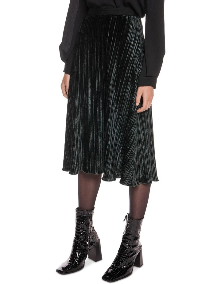 Pleated Velvet Midi Skirt image 2