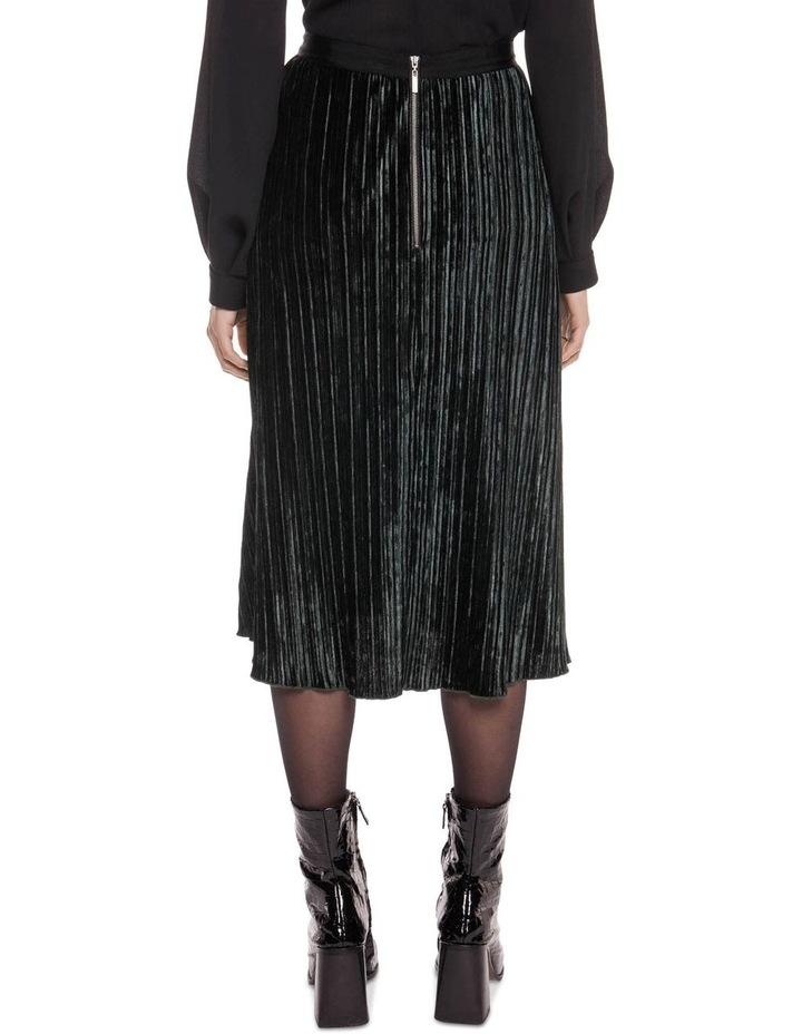 Pleated Velvet Midi Skirt image 3