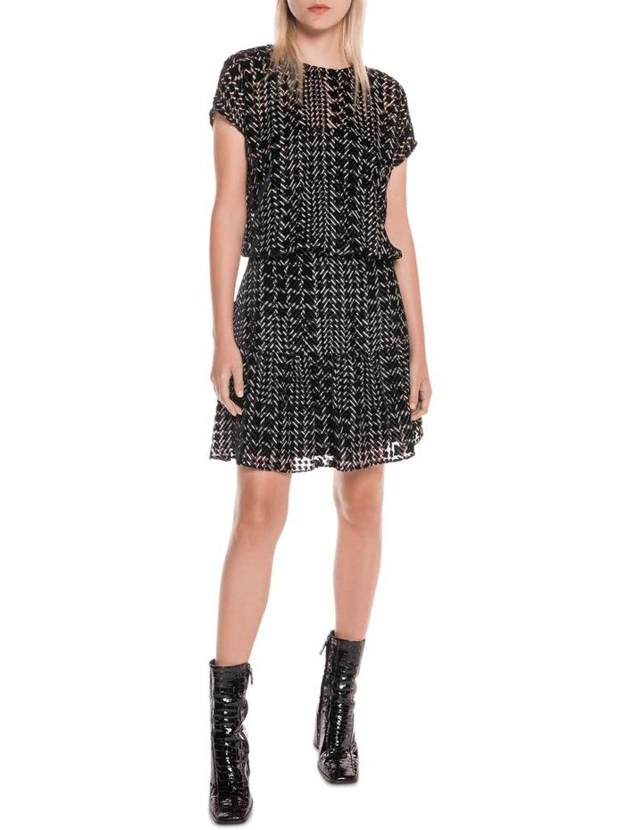 Silk Houndstooth Burnout Dress image 1