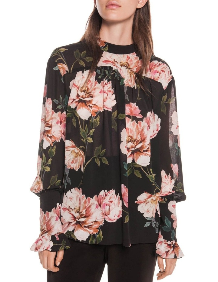 Textured Rose Blouson Sleeve Blouse image 2
