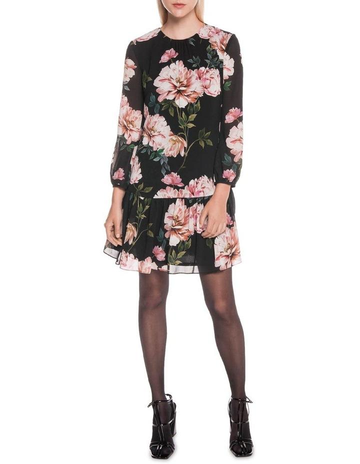 Textured Rose Gathered Trapeze Dress image 1