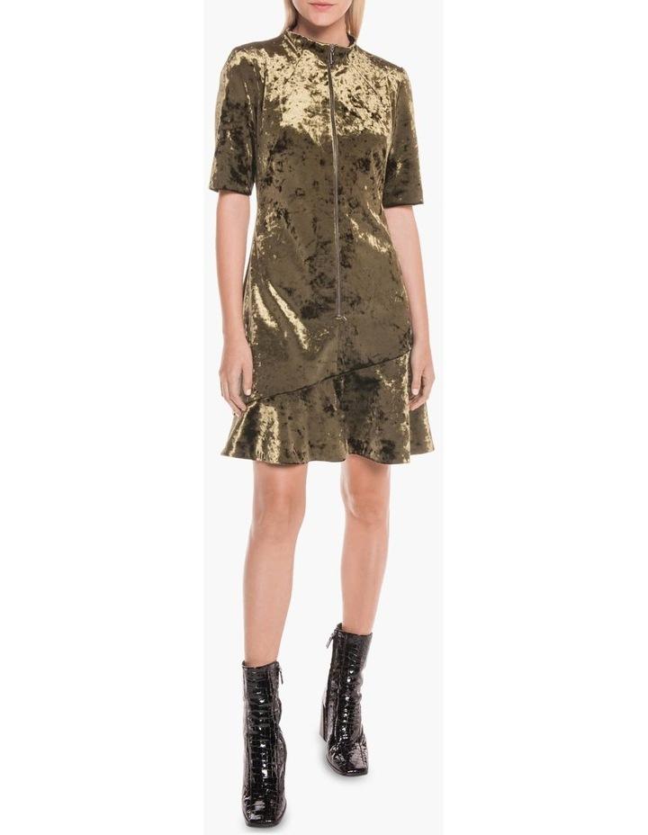 Crushed Velvet Asymmetric Frill Dress image 1