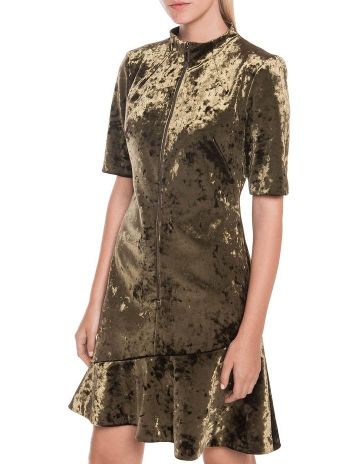 Crushed Velvet Asymmetric Frill Dress image 2