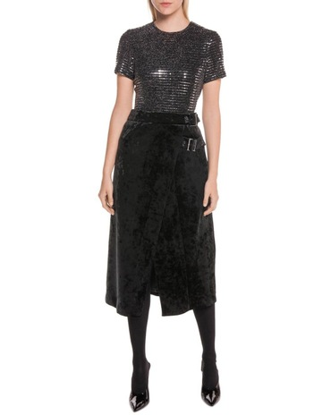 5df73a8671 Cue Crushed Velvet Midi Wrap Skirt