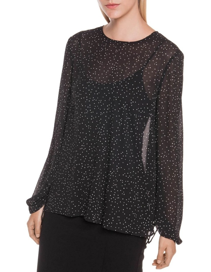 Starry Spot Ruched Sleeve Top image 1