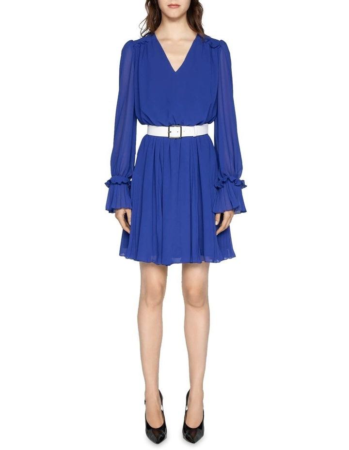 Cobalt Chiffon Pleated Dress image 1