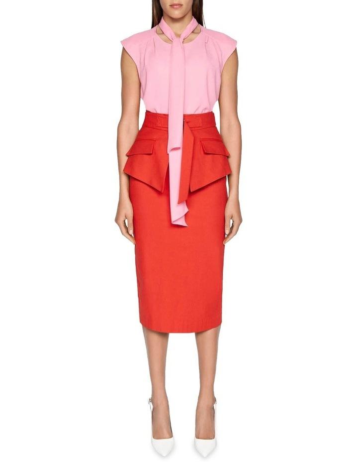 Belted Peplum Pencil Skirt image 1