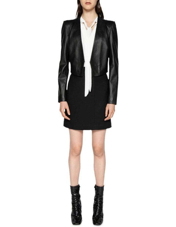 Leather Collarless Jacket image 1