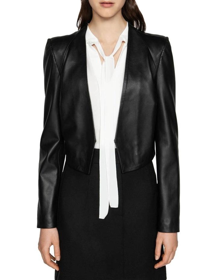Leather Collarless Jacket image 2