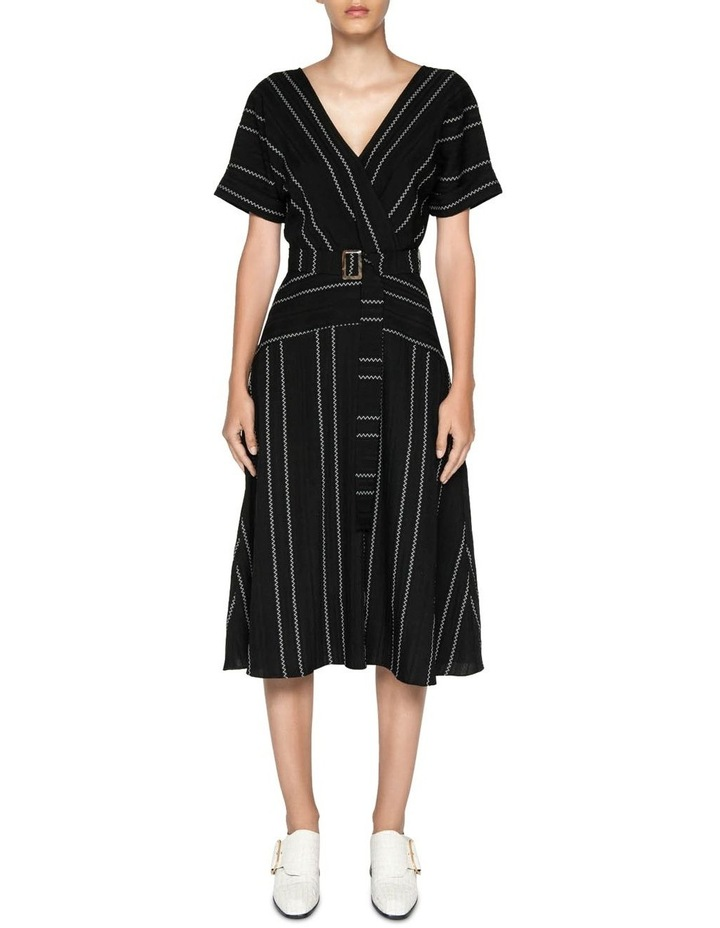 Jacquard Stripe Belted Midi Dress image 1