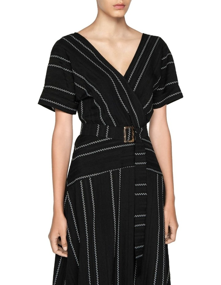 Jacquard Stripe Belted Midi Dress image 2