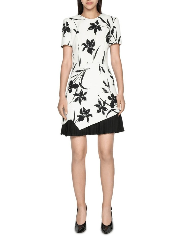 Monochrome Floral Pleated Dress image 1