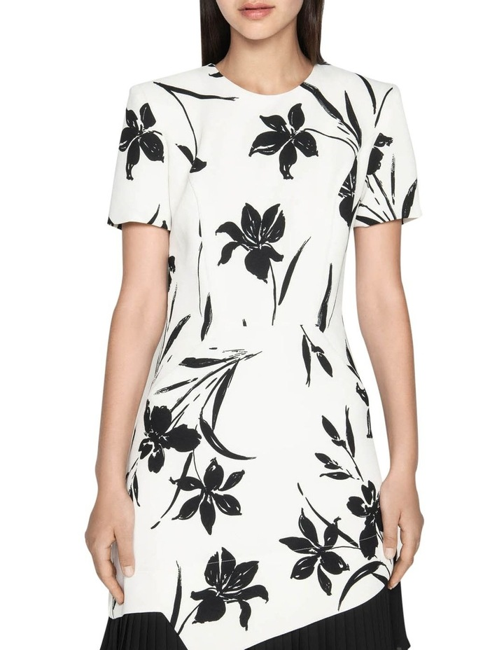 Monochrome Floral Pleated Dress image 2