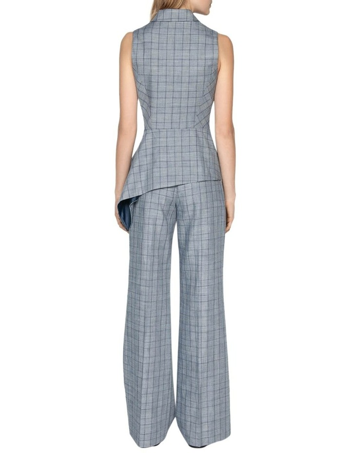 Linen Houndstooth Collared Wrap Top image 3