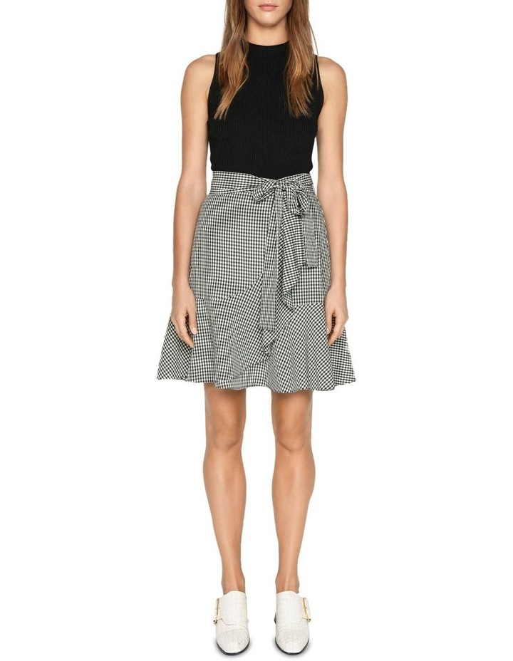 Crinkle Gingham Tie Waist Skirt image 1
