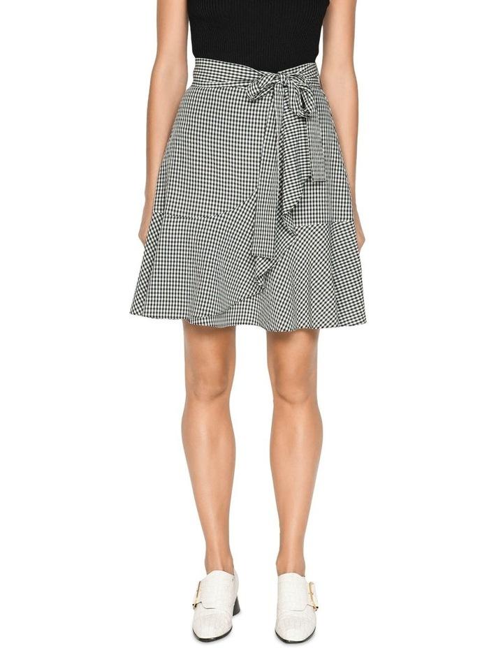 Crinkle Gingham Tie Waist Skirt image 2