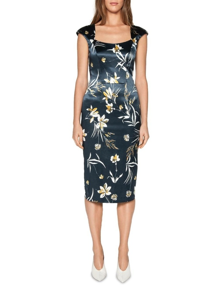 Painted Floral Satin Pencil Dress image 1