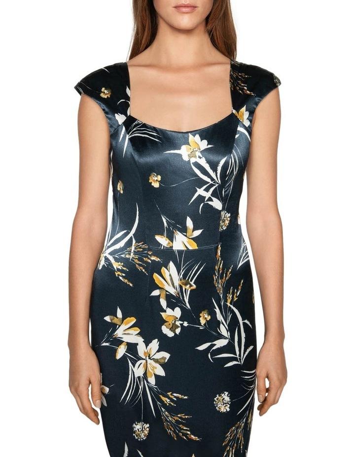 Painted Floral Satin Pencil Dress image 2