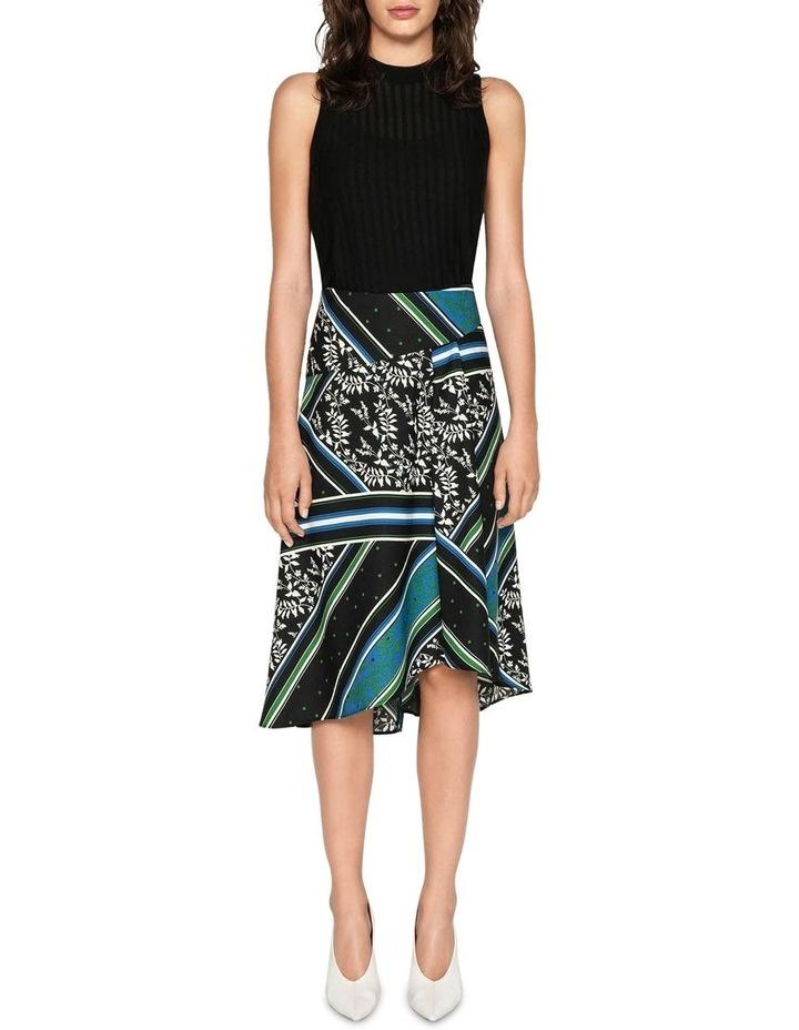 Scarf Print Asymmetric Midi Skirt image 1