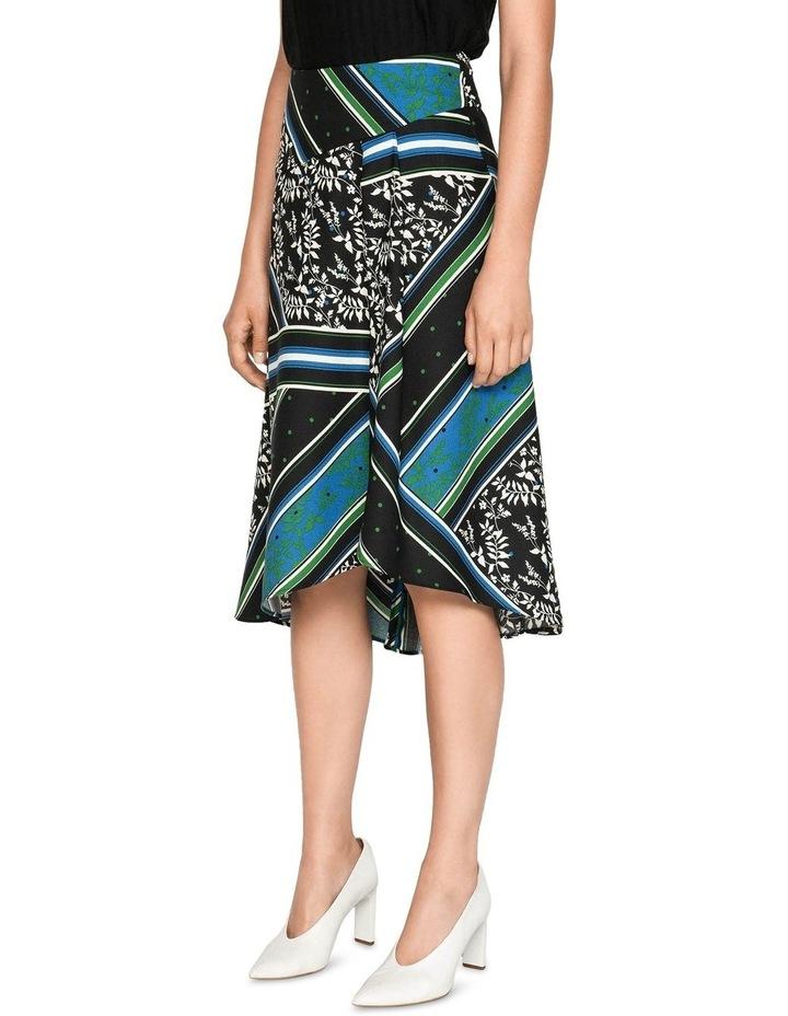 Scarf Print Asymmetric Midi Skirt image 2
