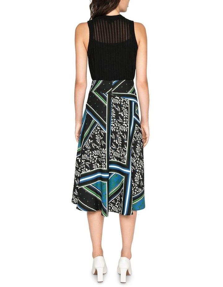 Scarf Print Asymmetric Midi Skirt image 3