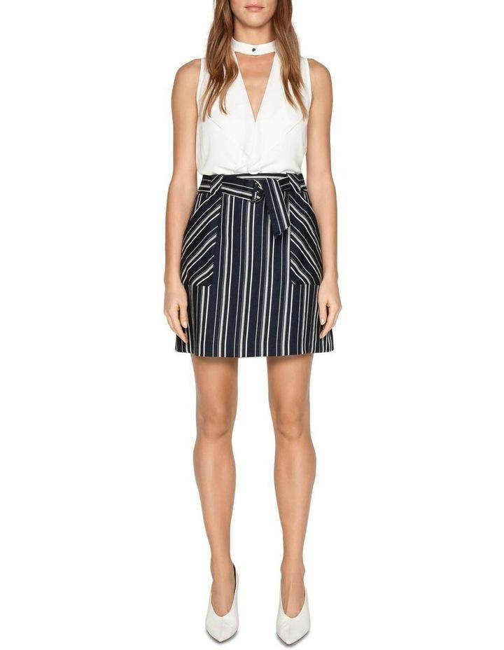 Linen Stripe Belted Skirt image 1